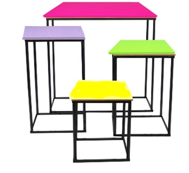 Jogo de Mesa cubos para festas fixo ou desmontável 4 peças