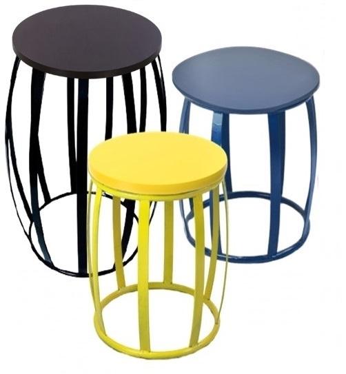 Trio de mesas Garden Seat Redondas Varias Cores...
